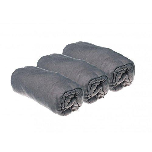 Juego de 3 sábanas bajeras de algodón de 60 x 120 cm, Color Gris