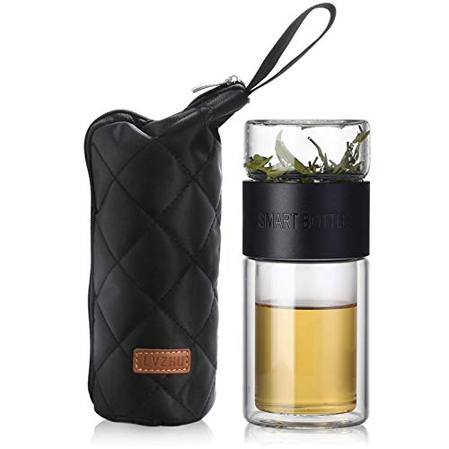 WANZSC Botellas de agua de vidrio de 200 ml con filtro de acero inoxidable infusor de té portátil al aire libre para café té (negro)