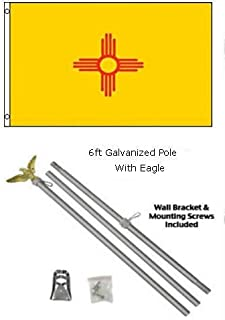 ALBATROS 2 ft x 3 ft 2x3 State of New Mexico Flag Galvanized Pole Kit Eagle Top for Home and Parades, Official Party, All Weather Indoors Outdoors