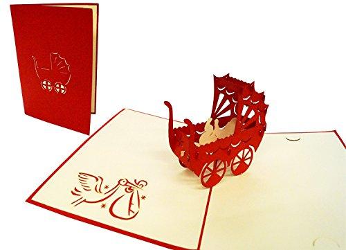 POP UP 3D wenskaart felicitatiekaart geboortekaart kinderwagen voor een meisje rood (