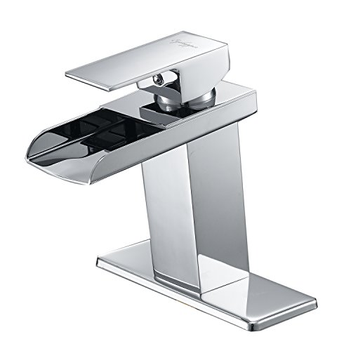 Eyekepper Countertop Solid Brass Single Handle Waterfall Bathroom Sink Faucet Chrome