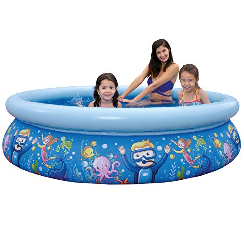 Sun Club Large 80in 3D Sea World Fun Inflatable Round Circular Novelty Kids Children's Paddling Pool Blue (Sea World)