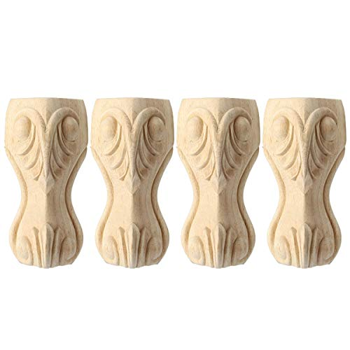 10 inch / 25cm Wooden Furniture Legs, La Vane Set of 4 European Style Solid Wood Carving Furniture Replacement Feet Decoration for Sofa Cabinet Wardrobe Table Loveseat