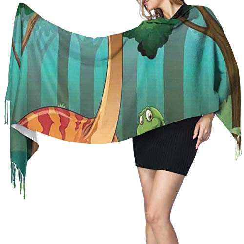 Womens Warm Long Shawl Wraps Large Scarves,Dinosaurs In An Tropical Forest Jurassic Dino Cartoon Children Art Craft Print Knit Cashmere Feel Scarf for Christmas