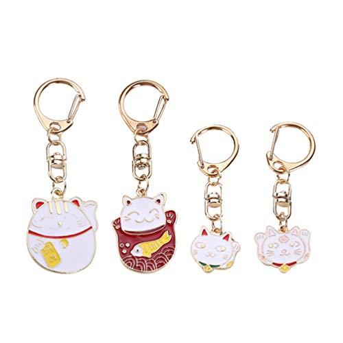 Amosfun Gato llavero japonés maneki neko fortuna suerte llavero feng shui llavero llavero bolsa colgante para hombres mujeres regalo de año nuevo 4 piezas