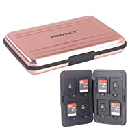 SD Card Case, Aluminum Memory Card Holder, Memory Card Case Organizer Storage for SD Cards, Micro SD Cards, SDHC SDXC TF UHS-I,Rose Gold