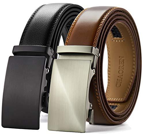 """CHAOREN Leather Ratchet Belt Big and Tall 28""""-60"""", Mens Belt Adjustable Slide 1 3/8"""""""