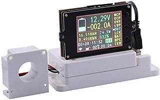 "WINGONEERワイヤレスデジタルDC電圧計電流計マルチメーター、2.4"""" LCD電圧アンペア電力ワットクーロン容量時間計ホールセンサーと温度センサー付き温度テスター検出器 - 80V 100A"
