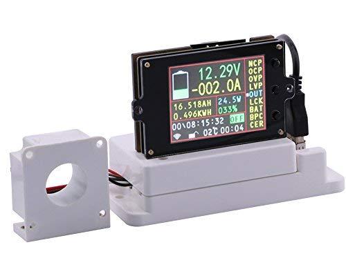 WINGONEER Wireless Digital DC Voltmeter Ammeter Multimeter 2.4 Inch LCD Voltage Ampere Power Watt Coulomb Capacity Time Meter Temperature Tester Detector with Hall Sensor Temp Sensor - 80V 100A