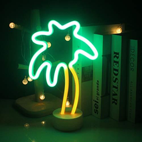 Luz de neón del árbol de coco Decoración de luz USB/batería Luz de noche decoración de la tienda interior vacaciones de verano suministros de fiesta de playa con base de luz de neón LED árbol de coco