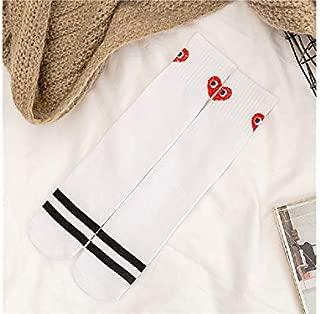 Lovely Socks Children Cotton Socks Kids Stripe Heart Pattern Mid Tube Socks(White) Newborn Sock (Color : White)