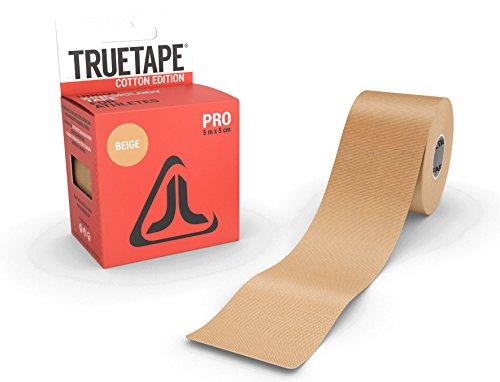TRUETAPE Cotton Edition Pro | Kinesiologie Tape | 5m x 5cm | Kinesiotapes | ungeschnitten | hautverträglich | CE-Zertifiziert | Beige