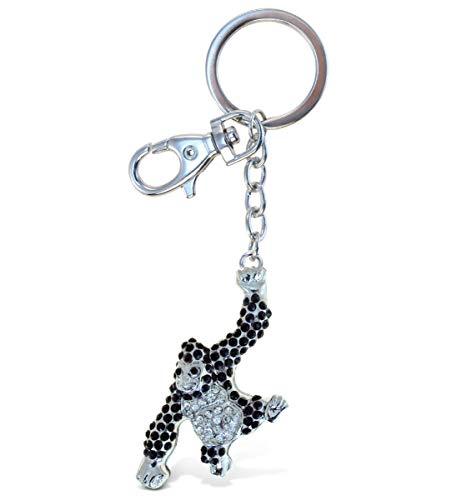 Aqua79 Gorilla Keychain - Silver 3D Sparkling Charm Rhinestones Fashionable Stylish Metal Alloy Durable Key Ring Bling Crystal Jewelry Accessory With Clasp For Key chain, Bag, Purse, Backpack, Handbag