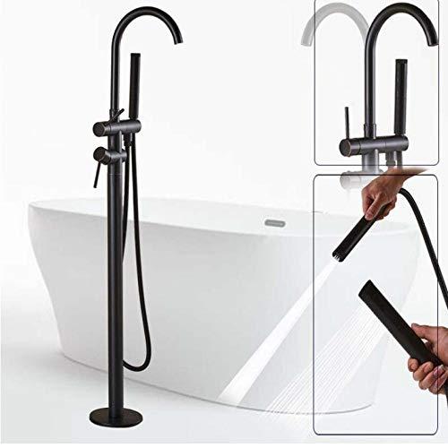 Badkuiparmatuur, vloergemonteerd, badkuiparmatuur met draaibare uitloop in brons, zwart met handdouche, eenpolig, doucheset op poten