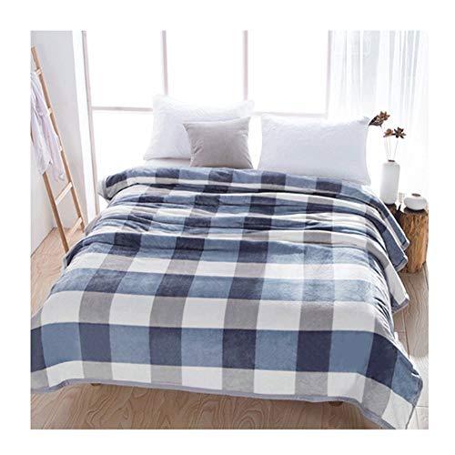 WYLYD Dicke warme Flanelldecke Doppeldecke für Bett oder Sofa 150 * 200cm blaues und weißes Plaid