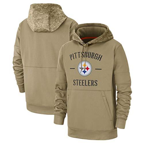 Männer NFL Pittsburgh Steelers Kapuzenpullover Sweatshirts Fans Jersey American Football Kapuzenoberteile Gruß an Service Rugby mannschaft Uniform,Lässige Langarm Sporttrainingskleidung mit Tasche,2XL