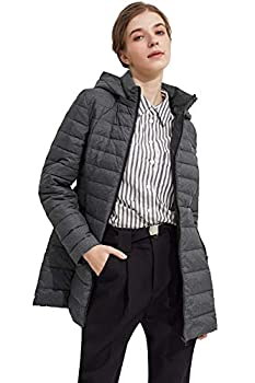 Orolay Women s Lightweight Quilted Down Jacket Bubble Coat Packable Hooded Bubble Jacket Castlerock L