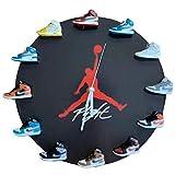 Relojes de Pared con 12 Modelos Diferentes de Zapatillas de Deporte de Goma 3D AJ, Posición del Modelo se Puede Mover, Reloj de Zapatos Jordan de 30cm para Entusiastas del Deporte Regalo,Negro,AJ1 Co