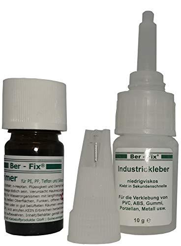 Ber - Fix® PE PP Set 10g Industriekleber – 5ml Primer) für PE PP SILIKON Teflon PVC GVK ABS
