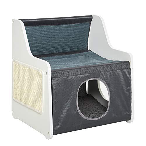Pawhut Katzenhaus mit Terrasse 2-lagiges warmes Katzenbett Kuschelhöhle zum schlafen für Katzen, Oxford-Stoff, Weiß+Grau, 48x37,5x50 cm