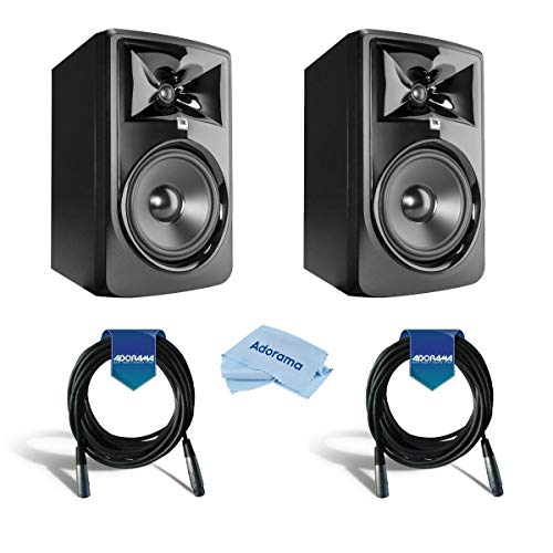 JBL 308P MkII Powered 8' Studio Monitor, Pair - Bundle With XLR 10' Cables