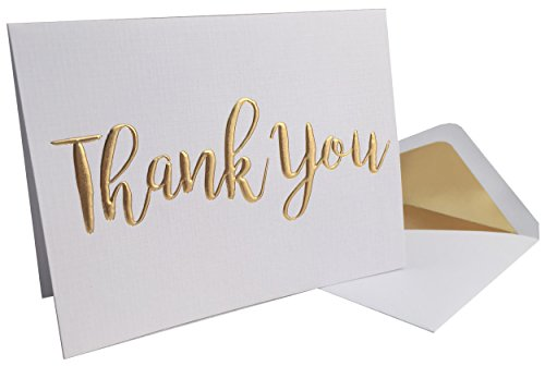 Thank You Cards - 20 Pack - Gold FoilThank You on Heavyweight Linen Texture Cardstock - Box of 20 Premium Thank You Cards with 20 Foil Lined Envelopes (A2) 5.5 x 4.25
