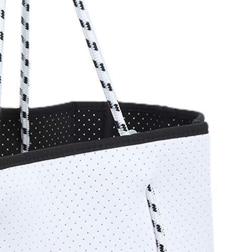 Bolsa de Playa Perforada, Bolsa de Compras, Conveniente diseño Perforado de Suficiente Capacidad considerado contra Robo para Cargador A4 Power Bank(White)