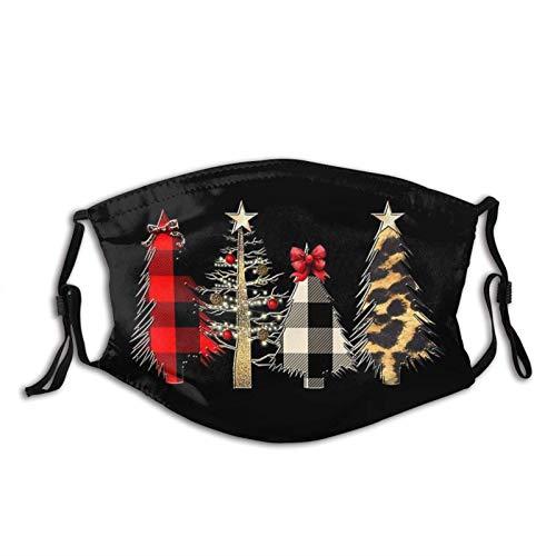 Christmas Dog Face Mask Dustproof Breathable Protective Scarf Reusable Adjustable Washable Fashion Bandana Made In USA-Red Plaid Leopard Christmas Tree