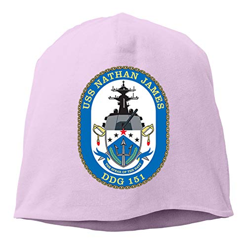 USS Nathan James Hedging Hat Unisex Skull Hat Knitted Hat Beanie Cap for Autumn/Winter Cap Pink