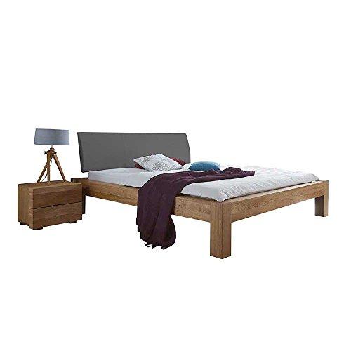 Pharao24 Bett aus Wildeiche massiv Polsterkopfteil in Grau Breite 165 cm Tiefe 227 cm Liegefläche 140x200
