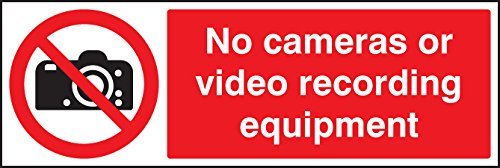 Caledonia Schilder 23637G keine Kameras oder Video Aufnahmegeräten Zeichen, selbstklebendes Vinyl, 300mm x 100mm