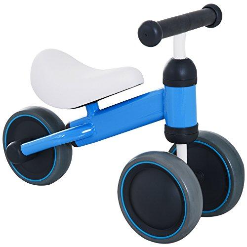 HOMCOM Triciclo Bicicleta sin Pedales para Niños 18-24 Meses con Sillón Cómodo Aprender a Caminar Carga 20kg 47x19x35cm Aluminio