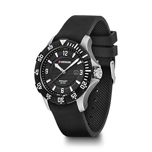 Wenger, Seaforce 43mm, Esfera Negra, Reloj con Correa de Goma para Hombre