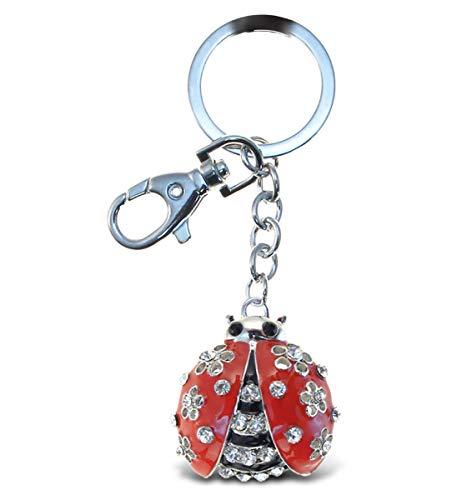 Aqua79 Ladybug Keychain - Silver 3D Sparkling Charm Rhinestones Fashionable Stylish Metal Alloy Durable Key Ring Bling Crystal Jewelry Accessory With Clasp For Key chain, Bag, Purse, Backpack, Handbag