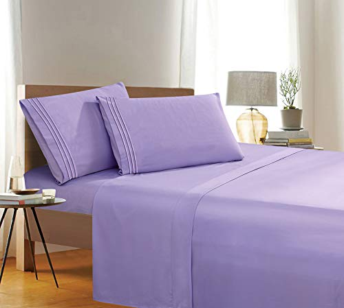 Elegant Comfort 1500 Thread Count Wrinkle & Fade Resistant Egyptian Quality 4-Piece Bed Sheet Set Ultra Soft Luxurious Set includes Flat Sheet, Fitted Sheet and 2 Pillowcases, Full Size, Rich Lavender
