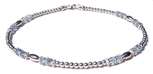 DAMALI Handmade Blue Aquamarine Anklet, March Birthstone Gemstone 925 Silver Ankle Bracelet Lg. 10.5 in.