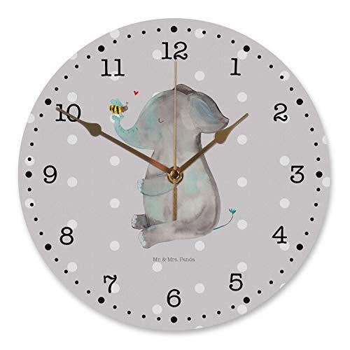 Mr. & Mrs. Panda Uhr, Flüsteruhrwerk, 30 cm Wanduhr Elefant & Biene - Farbe Grau Pastell