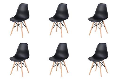 N/A Lot de 4/6 chaises, design minimaliste élégant, en plastique, pieds en bois, convient pour salle à manger, chambre à coucher, chaise de bureau, 82 x 46 x 53,5cm
