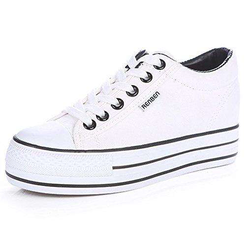 Renben Filles Femmes Classique Plateforme Talon Compensé Bas Baskets en Toile Sneakers Mode Lacer Chaussures Espadrille Blanc 3719 EU37