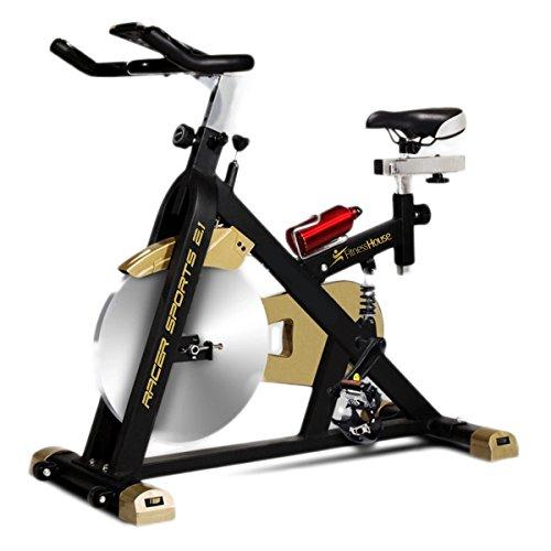 Fitness House Racer Sports Dorata, Bicicletta Indoor, Volano da 21 kg E Computer Unisex Adulto, Nero/Oro, Standard