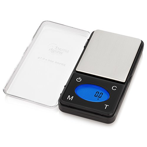 Smart Weigh ZIP600 Ultra Slim Digital Pocket Scale with Counting Feature,Gram Scale and Ounce Scale, 600g by 0.1g Accuracy