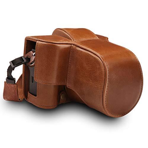 MegaGear MG1551 Fujifilm X-T3 (XF23mm - XF56mm & 18-55mm Lens) Ever Ready Echtleder Kamera-Case mit Trageriemen - Braun