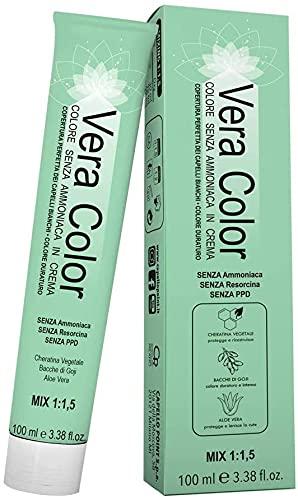 Vera Color - 7.3 Rubio Dorado - Tinte Profesional Permanente, Crema de Coloración sin Amoníaco con Queratina Vegetal, Aloe Vera y Bayas de Goji - Cobertura Total de las Canas - 100 ml