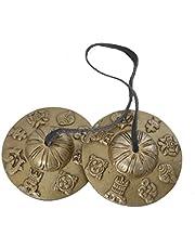Bermoni Budista Tibetano de Mano Campanas Tingsha con Craved Dharma Objetos 8 símbolos de la Suerte - (Ting-8SGN-MID)