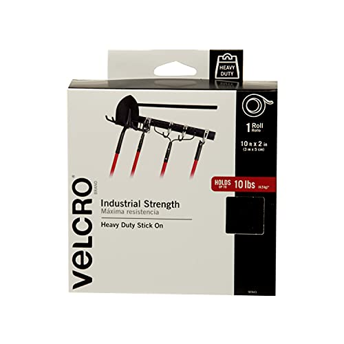 VELCRO Brand Heavy Duty Tape with Adhesive - Cut Strips to Length - Holds 10 lbs, Black - Industrial Strength Roll, Wide 10Ft x 2In - Strong Hold for Indoor or Outdoor Use