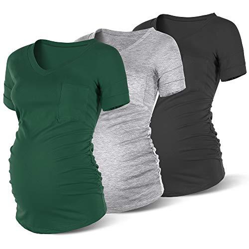 Rnxrbb Summer Maternity Shirts Casual Loose Pregnancy Tops Short Sleeve Maternity Clothes V Neck,Black&Grey&Green XL