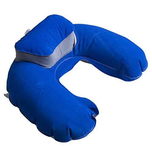 WUCHENG Cuello con Forma de U Plegable Almohada Almohada Cojín Inflable Memoria de Espuma Viajes Cuello de Almohada Super Suave Almohadas Avión de Aire Almohada (Color : Blue)