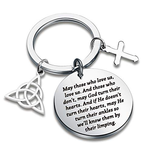 CYTING May Those Who Love Us Love Us Irish Blessing Keychain with Celtic Trinity Knot Good Luck Jewelry Long Distance Relationship Going Away Gifts for Family Friends (May Those who Love us)