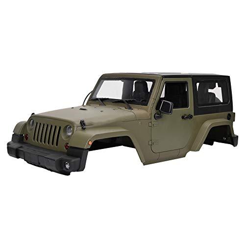Carcasa Transparente para Coche RC, Carcasa Duradera Verde con Control Remoto Modelo de carrocería para Jeeps Wranglers 1/10 SCX10 RC Truck