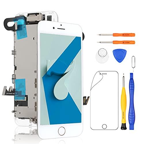 Yodoit för iPhone 7 skärmbyte vit med främre kamera, hörlurshögtalare, skärmplatta, LCD-display touch digitaliserare montering + reparationsverktyg, skärmskydd